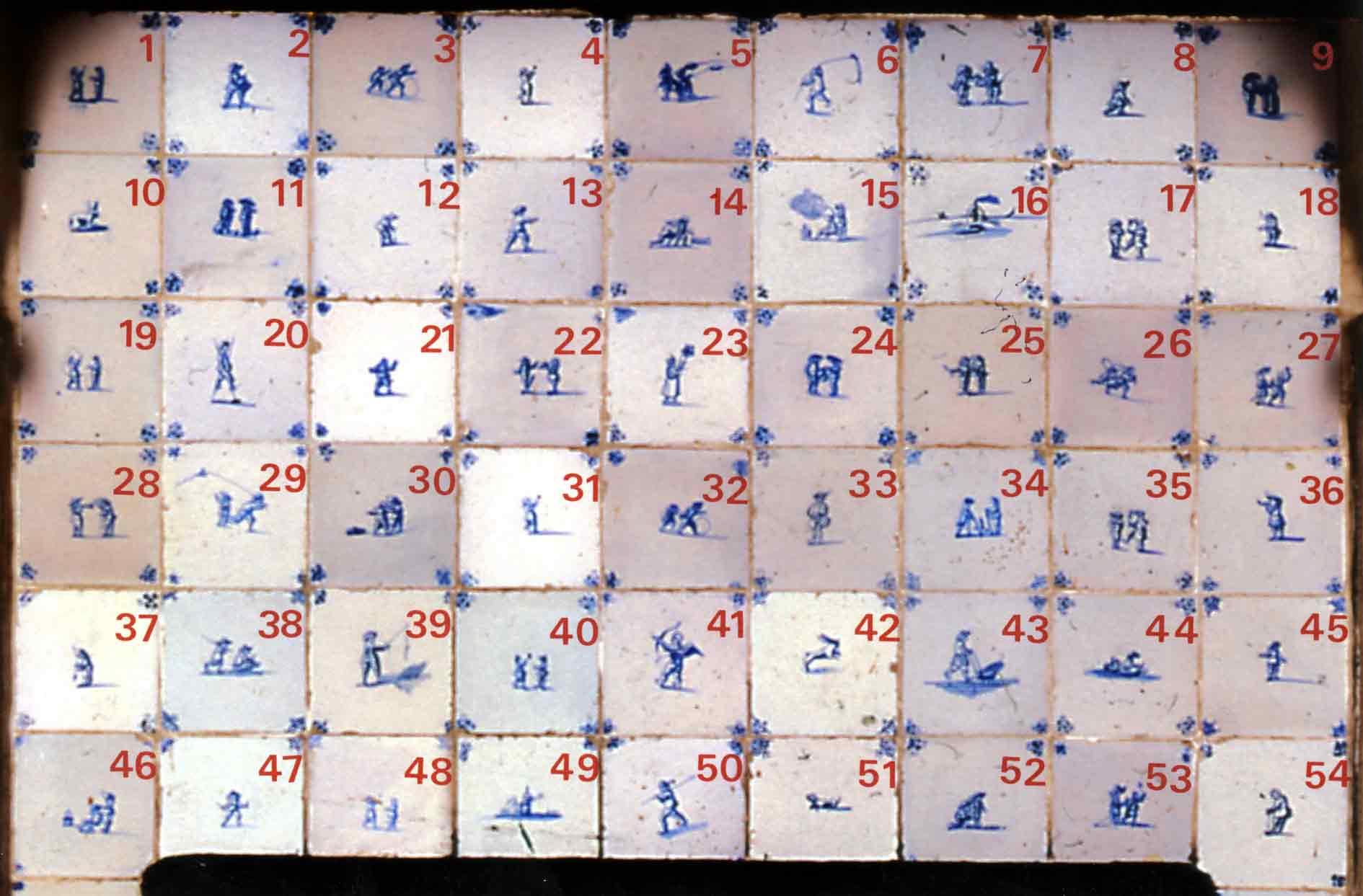 Wandfeld über dem Feuerraum mit Nummerierung der Fliesen